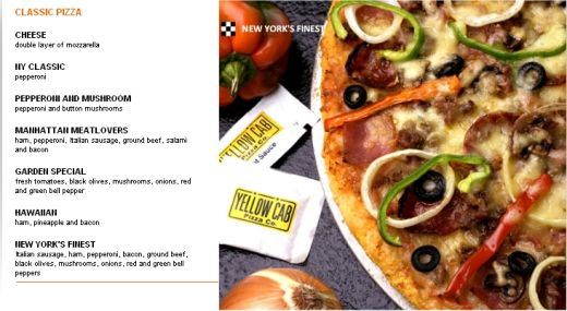 Yellow Cab Menu